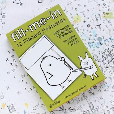 Fill-Me-In 12 leere Postkarten