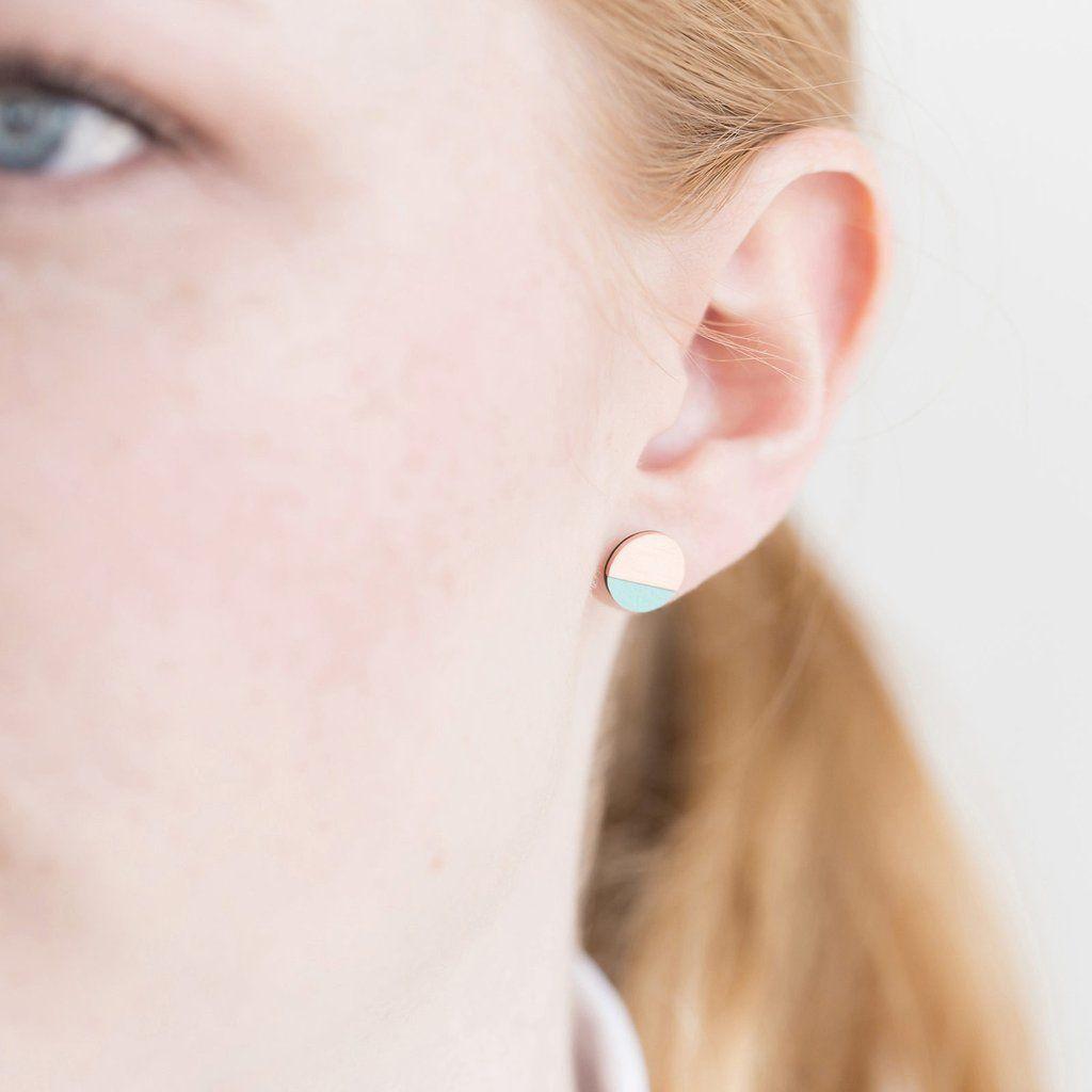 Circle Earring | Copper & Mint