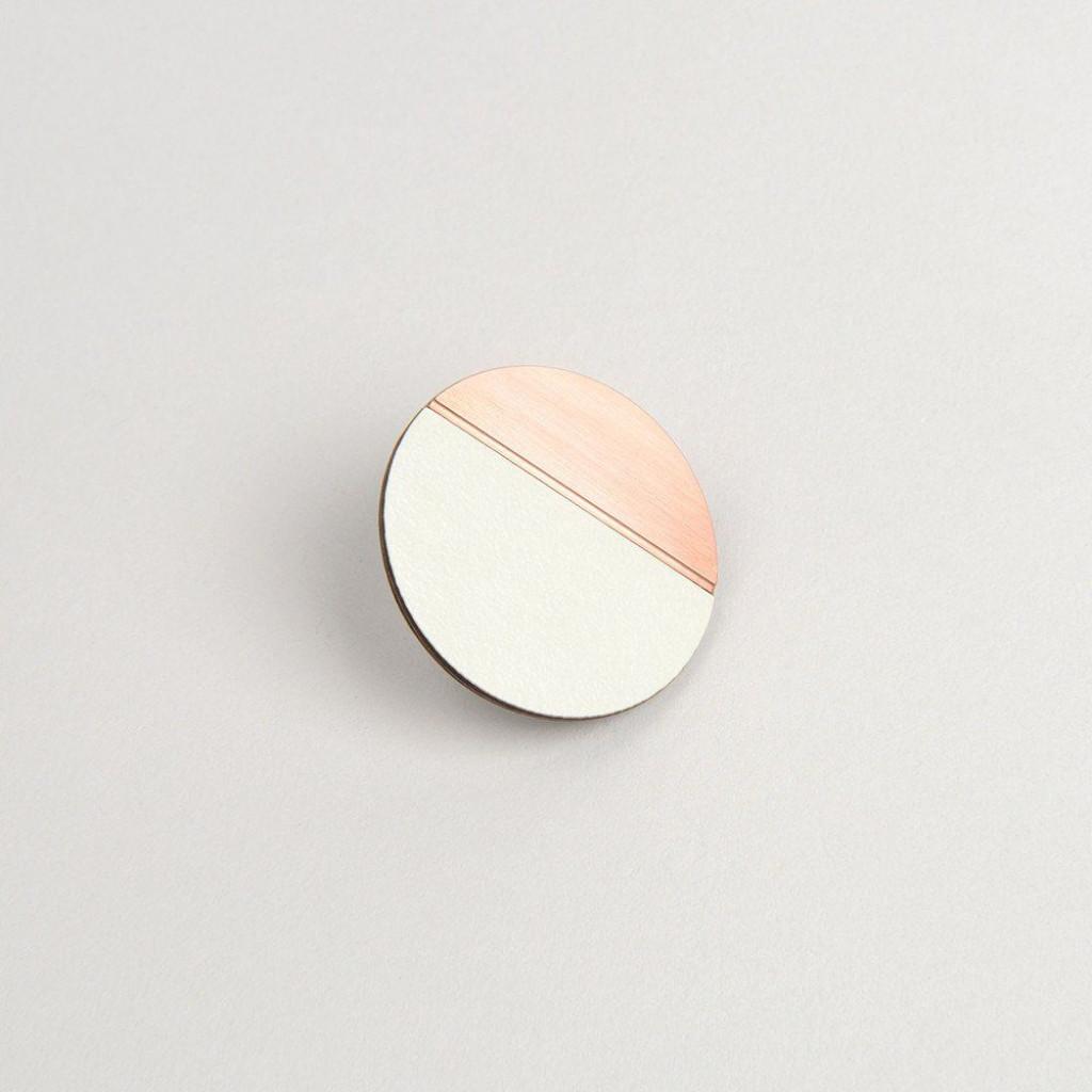 Circle Pin | Copper & Grey