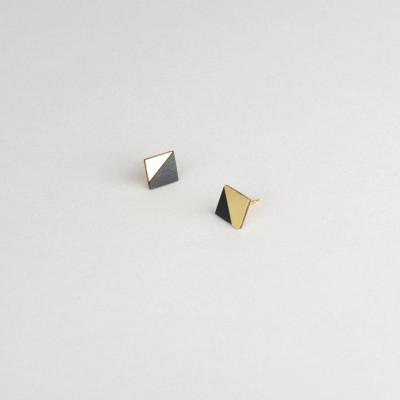 Square Earring | Brass & Black