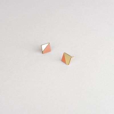 Square Earring | Brass & Tan