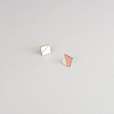 Square Earring | Copper & Grey