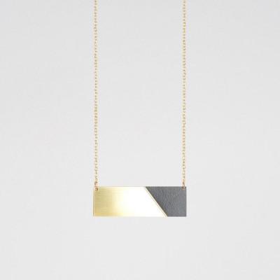 Bar-Halskette | Messing & Schwarz
