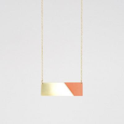 Bar-Halskette | Messing & Tan