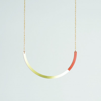 Circle Necklace | Brass & Tan