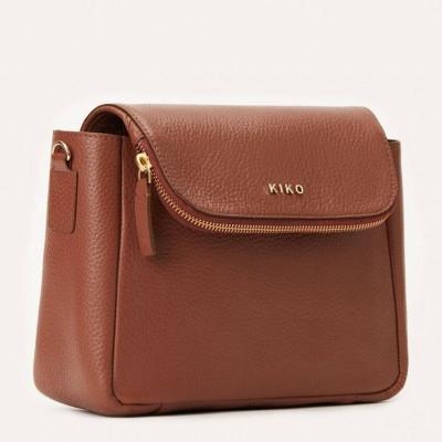 Leather Bag Fold Over Crossbody | Dark Brown
