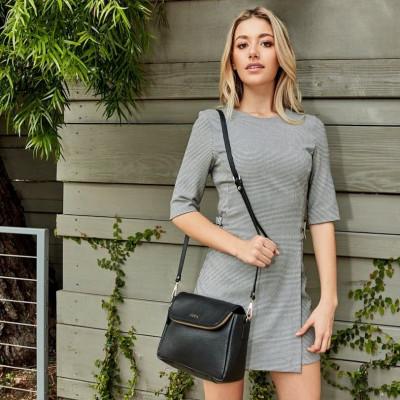 Leather Bag Fold Over Crossbody | Black