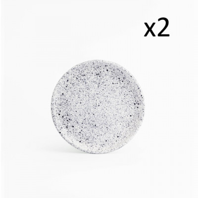 2er-Set Beilagenteller Mess | Weiß mit blauen Punkten