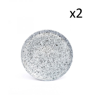 2er Set Beilagenteller Mess Small | Weiß mit blauen Punkten