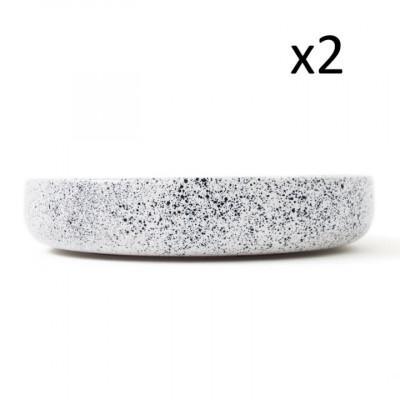 2er Set Teller Mess | Weiß mit blauen Punkten