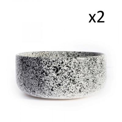 2er-Set Schüssel Mess | Weiß mit blauen Punkten