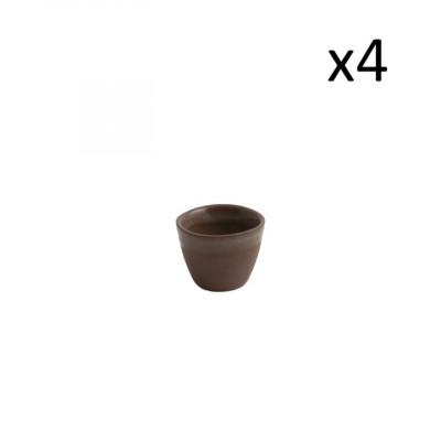 4er Set niedrige Tassen Oskar Yann 100 ml l Braun