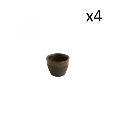 4er Set niedrige Tassen Oskar Yann 100 ml l Schwarz