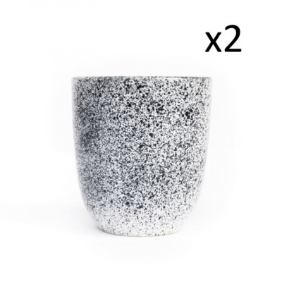 2er Set Becher Mess A 330 ML | Weiß mit blauen Punkten