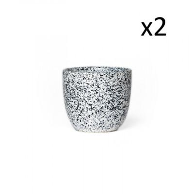 2er Set Becher Mess A 170 ML | Weiß mit blauen Punkten