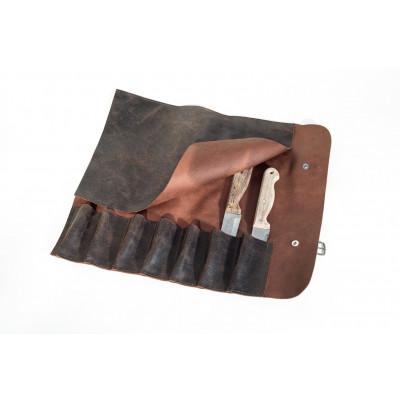 Messertasche aus Leder mit  7 Fächern