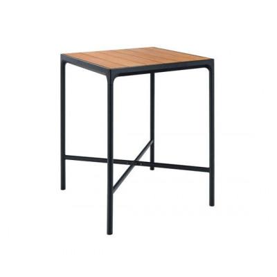 Garten-Bar-Tisch Vier kleine | Bambus / Schwarz