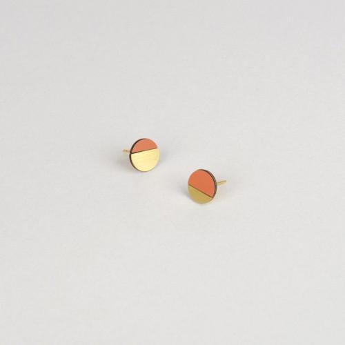 Circle Earring | Brass & Tan