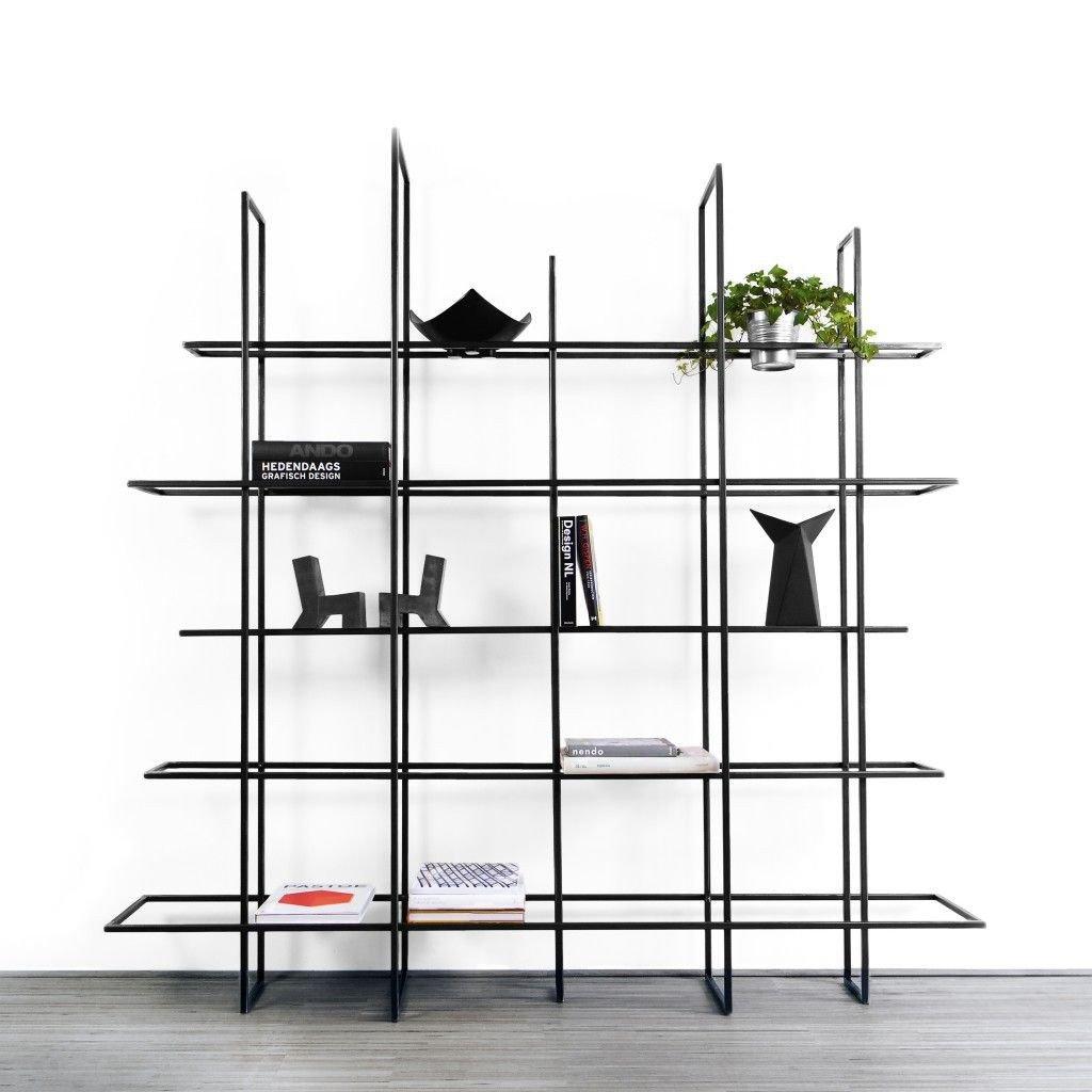 FRAMES Rack/Room Divider | Black, Glass Shelves