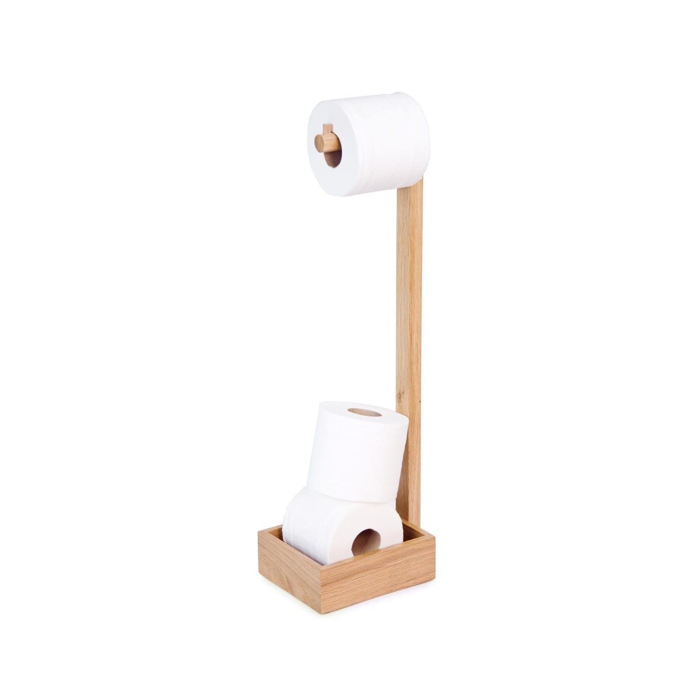 Mezza Cache-rouleau de Papier Toilette Sur Pied   Chêne Naturel