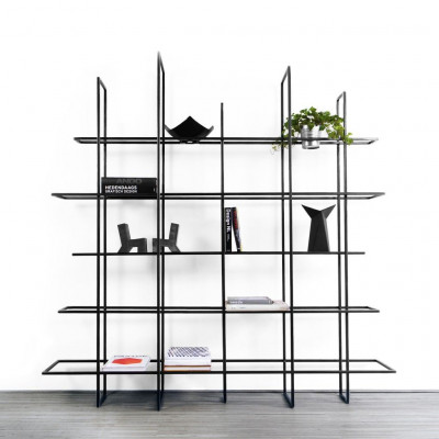 FRAMES Rack/Raumteiler | Schwarz, Glasablagen