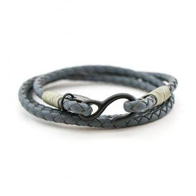 Bracelet   Grey Leather Wraparound