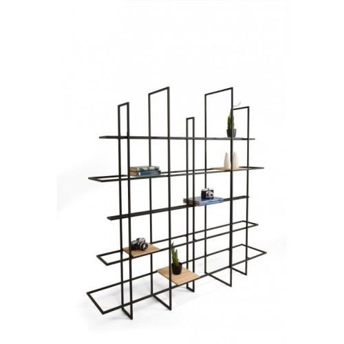 FRAMES Rack/Room Divider | Black, Wood Shelves