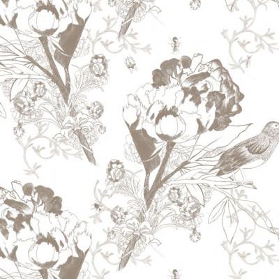 Wallpaper   English Flowers & Bugs Grey