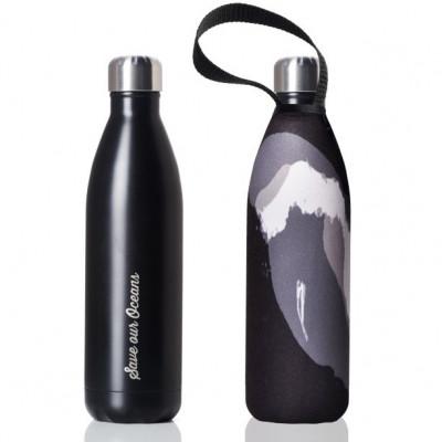 Trinkflasche Future 750 ml & Tragehülle | Schwarz & Schwarze Welle