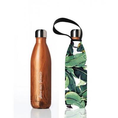 Trinkflasche Future 750 ml & Tragehülle | Holzmaserung & Bananenblatt