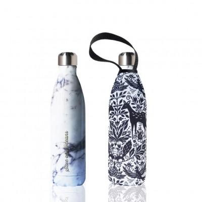 Trinkflasche Future 750 ml & Tragehülle | White Marble & Deer Print