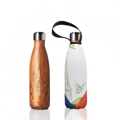 Trinkflasche & Tragehülle 500 ml | Woodgrain & Flutter Print
