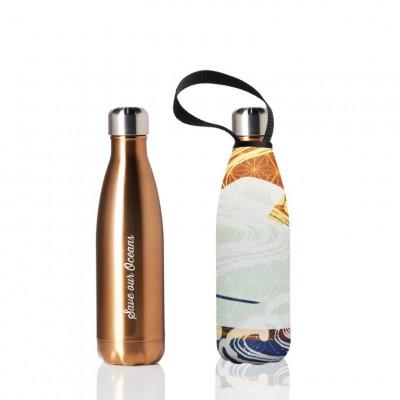 Trinkflasche & Tragehülle 500 ml | Gold & Gold Wave Print