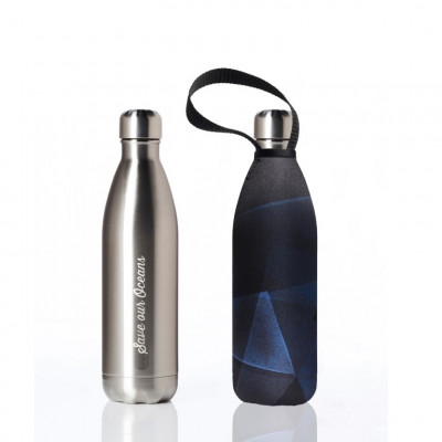 Trinkflasche Future 750 ml & Tragehülle | Silver & Prism Feather Print