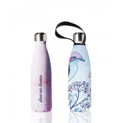 Trinkflasche & Tragehülle 500 ml | Rosa Marmor & Pastell