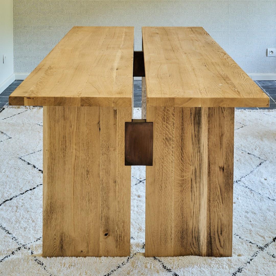 Esstisch geteilt Eiche massiv 2 Teile   Helles Holz
