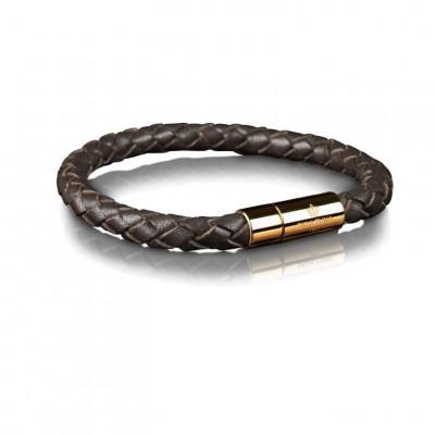 Leather Bracelet 6 mm Gold | Dark Brown