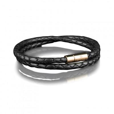 Leather Bracelet 4 mm Gold | Black