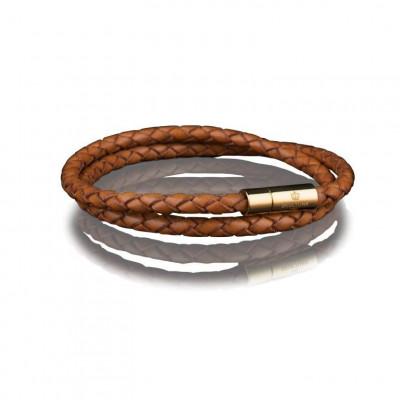 Leather Bracelet 4 mm Gold | Brown