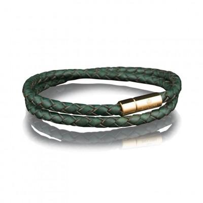 Leather Bracelet 4 mm Gold | Dark Green