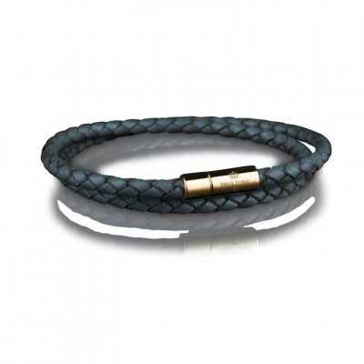 Leather Bracelet 4 mm Gold | Grey