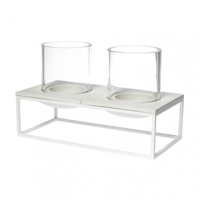 Alex Candle Holder   White Double