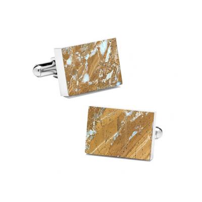 Marble Cuff Links | Galaxy Gold (Rectangular)