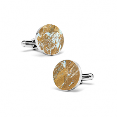 Marble Cuff Links | Galaxy Gold (Round)