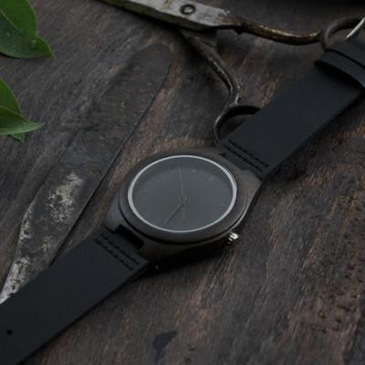 Wooden Watch | Black Leather + Dark Wood