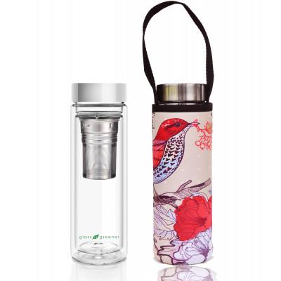 Teeflasche Glass Is Greener + Tragehülle | Bird Print