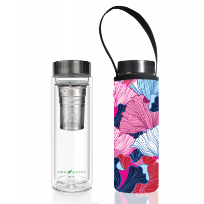Teeflasche Glass Is Greener + Tragehülle | Fan Print