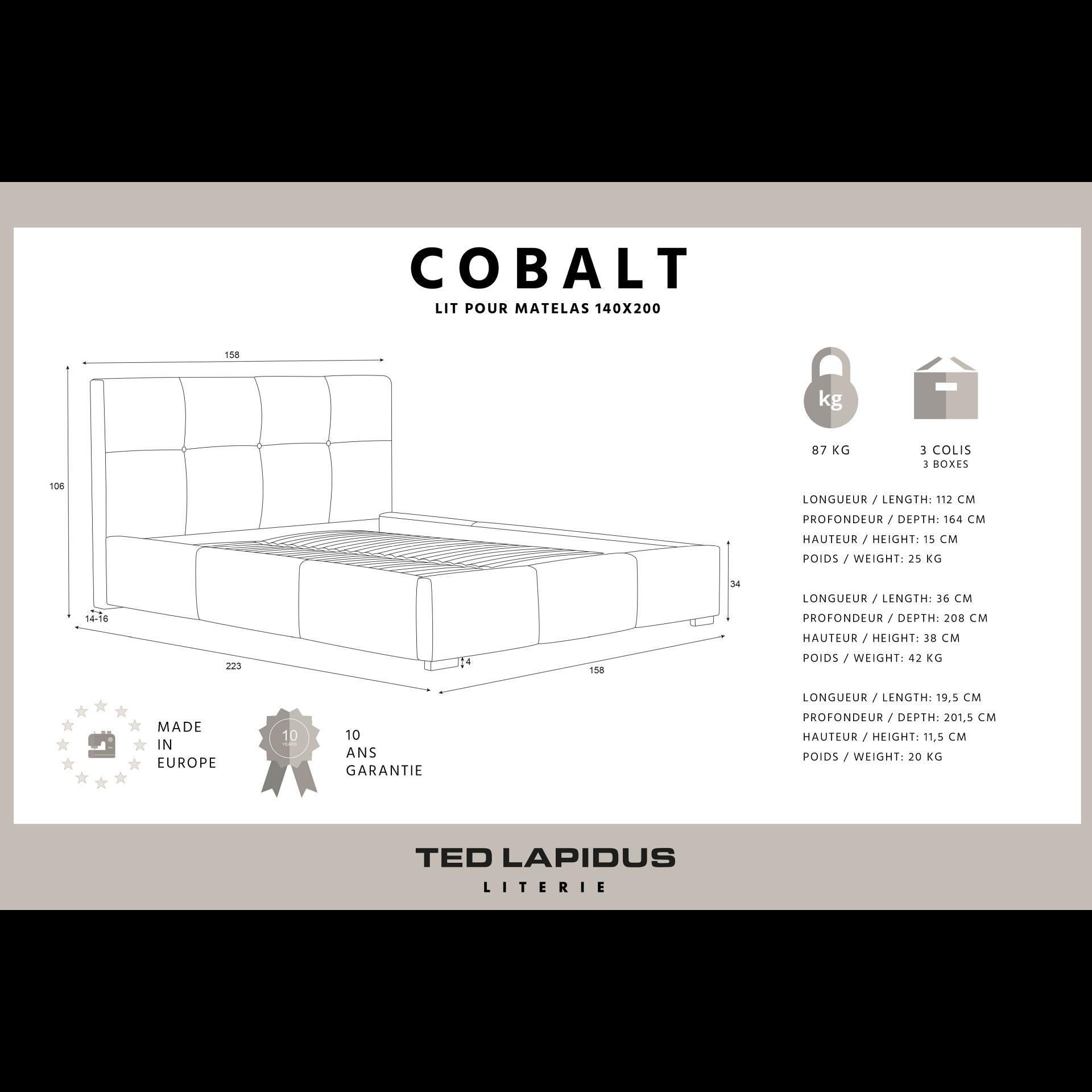 Gepolstertes Bett Cobalt | Beige-140 x 200 cm