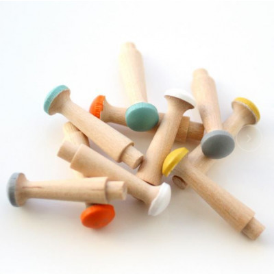 Coloured Wooden Pegboard Pegs   Set of 10