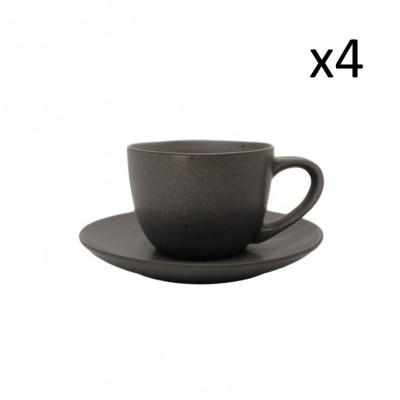 Tasse mit Untertasse Mauricio 18 cl 4er-Set   Grau